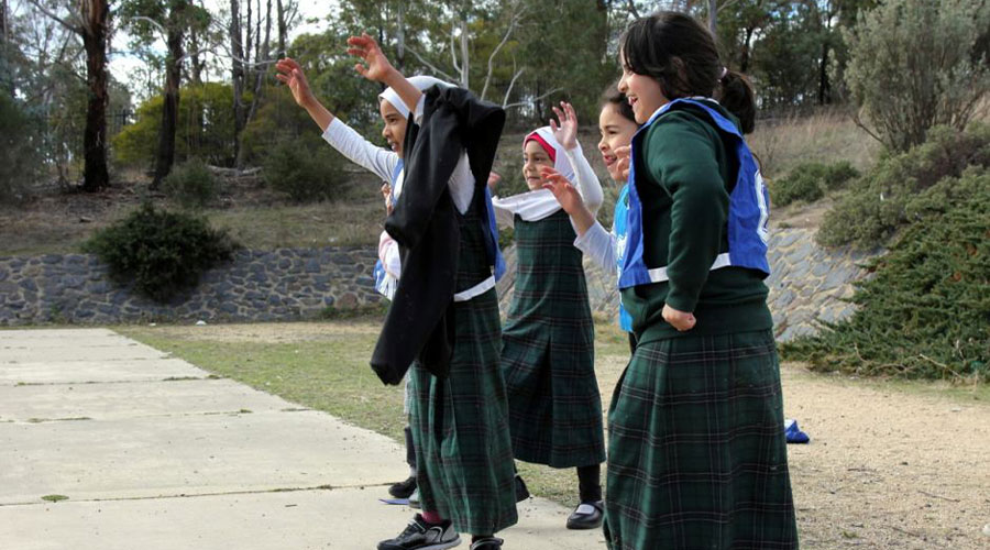 Islamic School of Canberra Students engaging in a Netball Drill