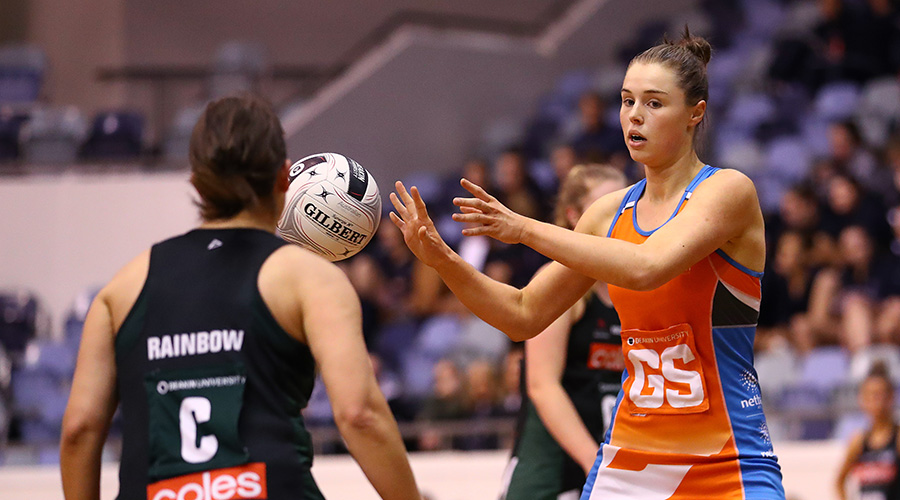 Canberra Giants goal shooter Georgia Marshall in the 2019 Australian Netball League bronze medal game
