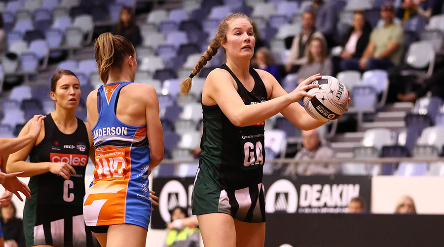 Tasmanian Magpies goal attack Sam Gooden in the 2019 Australian Netball League