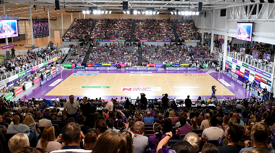 A general view of the stadium is seen during the round two Super Netball match between the Queensland Firebirds and the Collingwood Magpies at the Queensland State Netball Centre on May 04, 2019 in Brisbane, Australia.