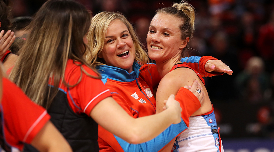 Swifts coach Briony Akle and Elle Bennetts of the Swifts celebrate victory after the round 8 Super Netball match between the Swifts and the Giants at Qudos Bank Arena on June 16, 2019 in Sydney, Australia.