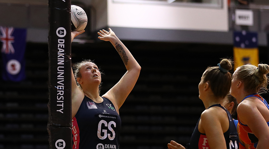 Emma Ryde of the Victorian Fury shoots during the Australian Netball League Finals at State Netball Hockey Centre on June 29, 2019 in Melbourne, Australia