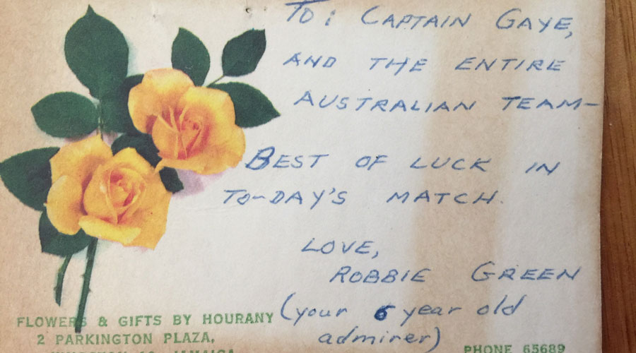 Card from fan to Australian captain Gaye Teede.
