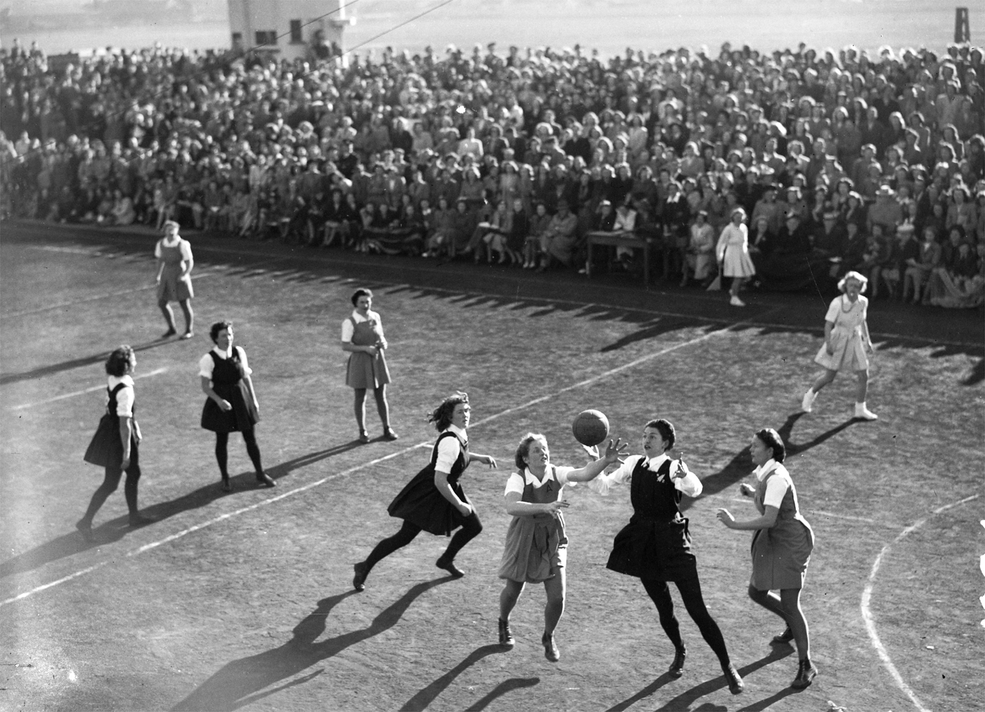 1948, Australia v. New Zealand. Game One of the test series played in front of a full crowd at Forbey Park Racecourse, Dunedin.